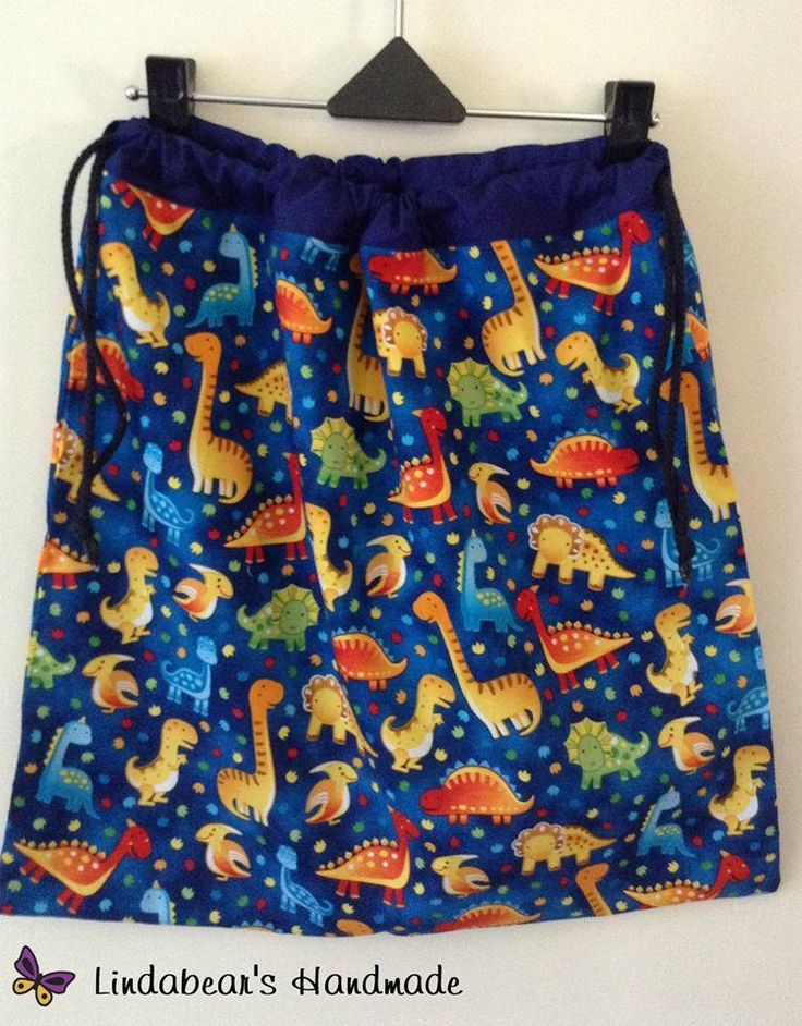 Handmade by Lindabear's Handmade  Blue Dinosaur Drawstring Library book/Toy Bag