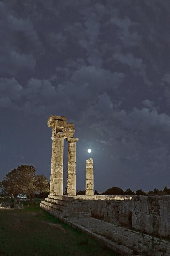 Temple of Apollo at the Akropolis of Rhodes, Greece, silver-bathed by the light of the moon.  by Dimitris Koskinas