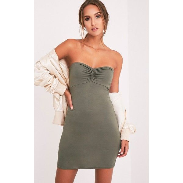 Leanna Khaki Jersey Bandeau Bodycon Dress - 6 ($9.75) ❤ liked on Polyvore featuring dresses, green, going out dresses, night out dresses, green bodycon dress, bodycon bandage dress and khaki dress