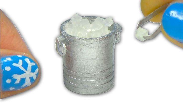 Como fazer balde de gelo e pinças em miniatura para boneca - Faça você m...