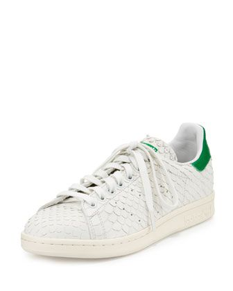 Stan+Smith+Snake-Cut+Leather+Sneaker,+Crystal+White. LeatherLeather Sneakers Adidas ...