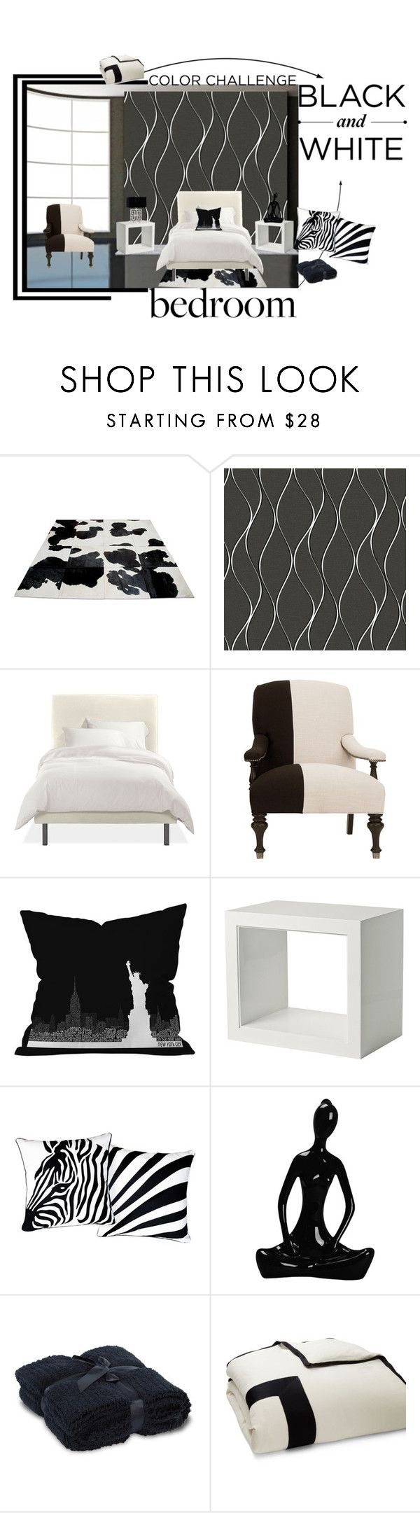 """Camera da letto in bianco e nero"" by nicolevalents ❤ liked on Polyvore featuring interior, interiors, interior design, home, home decor, interior decorating, York Wallcoverings, DENY Designs, Serena & Lily and AF Lighting"