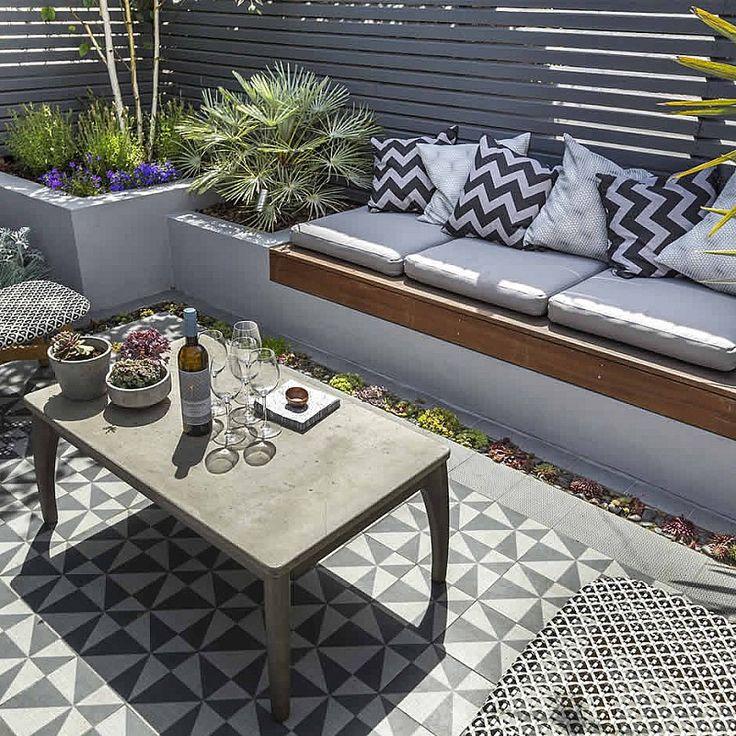 Private Small Garden Design tiled flooring
