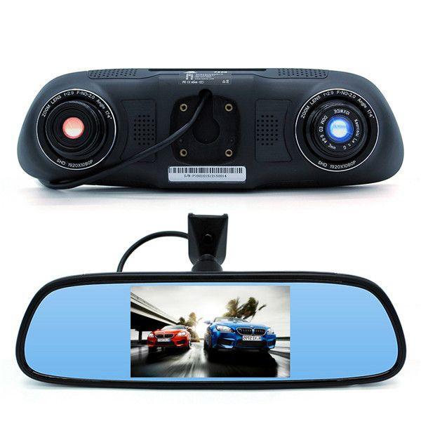 Junsun P200 Coche Espejo retrovisor DVR IR Visión nocturna 5 Inch Coche Cámara Grabador de vídeo completo HD 1080P