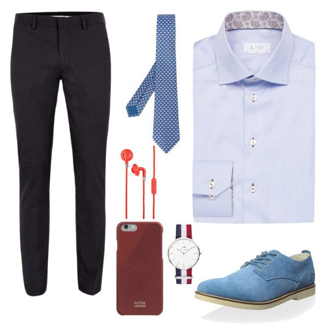 """Capital Call"" by chocofit on Polyvore featuring ETON, Bulgari, Pointer, Daniel Wellington, Native Union, Urbanears, Topman, men's fashion and menswear"