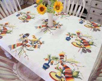 Wilendur Fiesta Tablecloth Mexicali Tablecloth Southwestern Tablecloth Vibrant Colors Tablecloth Mexico Themed Party Square Tablecloth