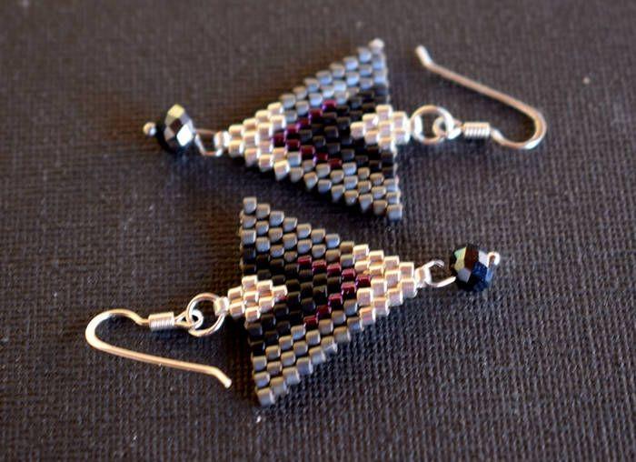 Black,gray,purple and silver earrings , Geometric Beaded earrings , Sterling Silver Hooks , Gift for her , Festival Earrings , Delica Beads by mariellascode on Etsy