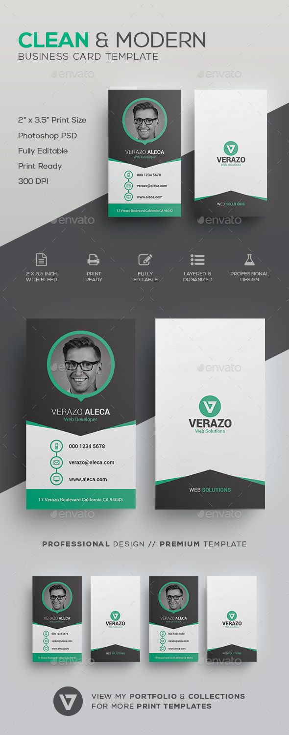 Clean Modern Business Card Template by verazo Need more high quality business card? View my Business Card Templates Collection OR Save Money! Buy Business Card Bundle for only