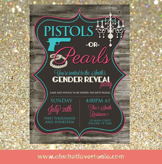 Pistols or Pearls Gender Reveal by OhWhatLoveDesigns on Etsy