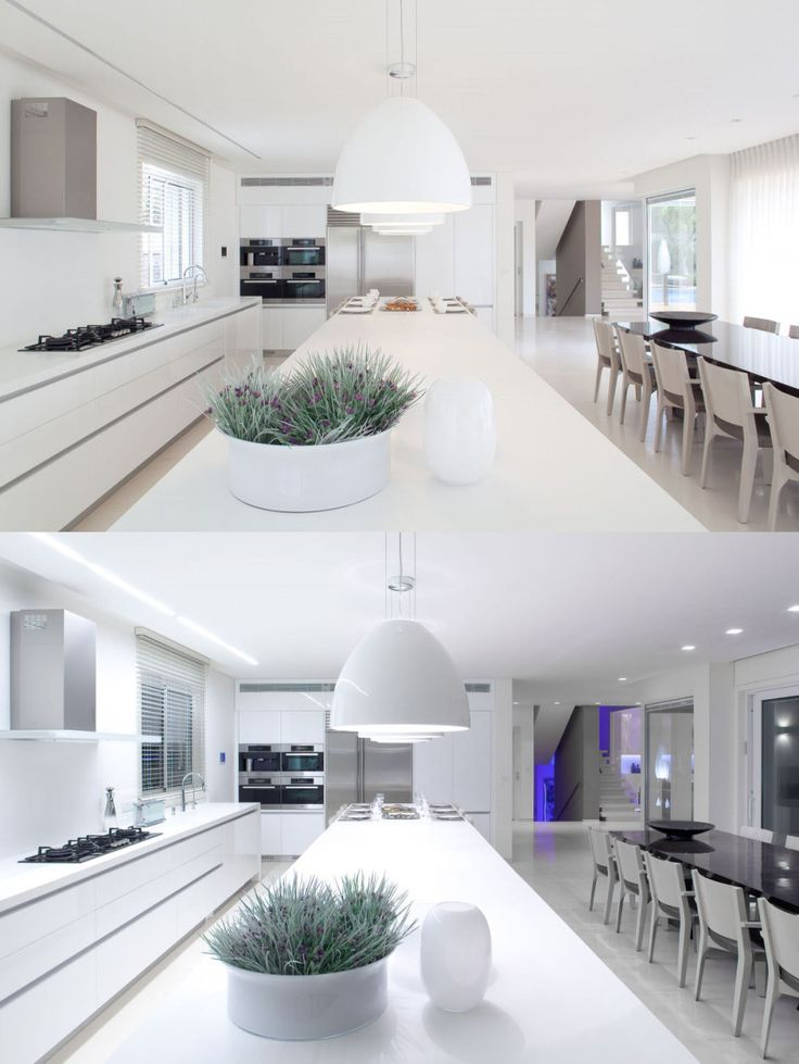 Interior, Fabulous Kitchen With White Pendant Lamps Above White Marble Countertop Alongside White Cabinet With Kitchen Sink And Built In Kitchen Hood Above Gas Stove: Interior Design Ideas with White Theme for Those White Enthusiasts