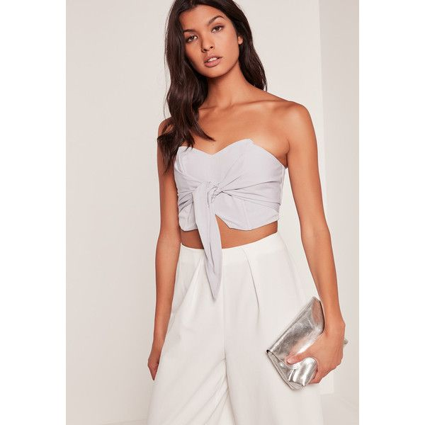 Missguided Tie Front Bandeau Top ($26) ❤ liked on Polyvore featuring tops, grey, grey top, tie front top, gray top, bandeau tops and bandeau bikini tops