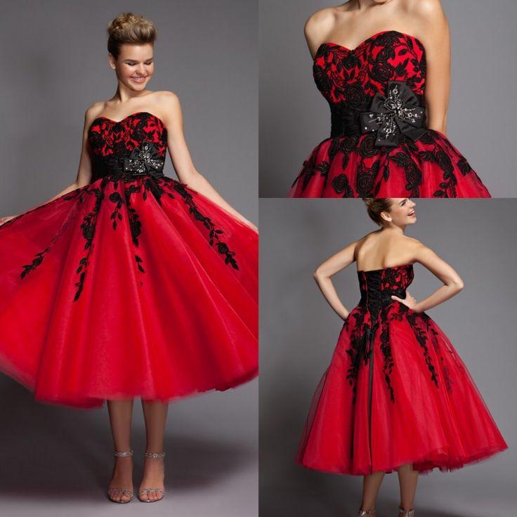 Hot ventes 2015 noir. appliques de dentelle robes de mariée courte chérie rouge. tull arc châssis mi mollet nn1183 robes de mariée sur mesure