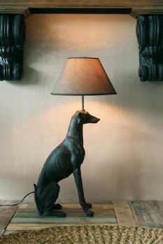 Large Greyhound Lamp With Linen Shade