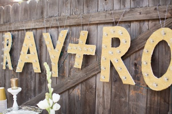 Surprise engagement party, marquee letters, DIY project, dessert table
