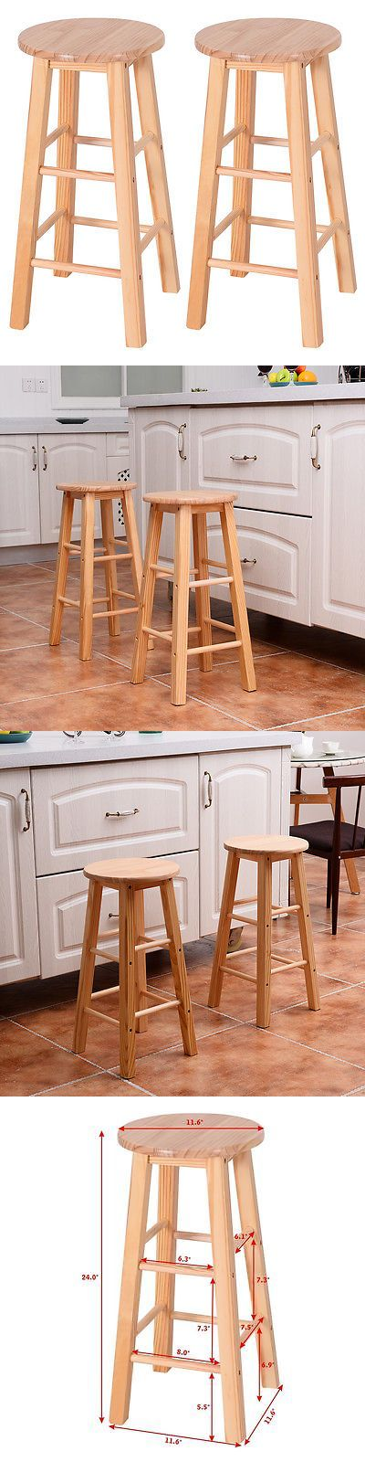 Bar Stools 153928: Set Of 2 Round 24 Bar Stools Wood Bistro Dining Kitchen Pub Chair Furniture New -> BUY IT NOW ONLY: $39.99 on eBay!