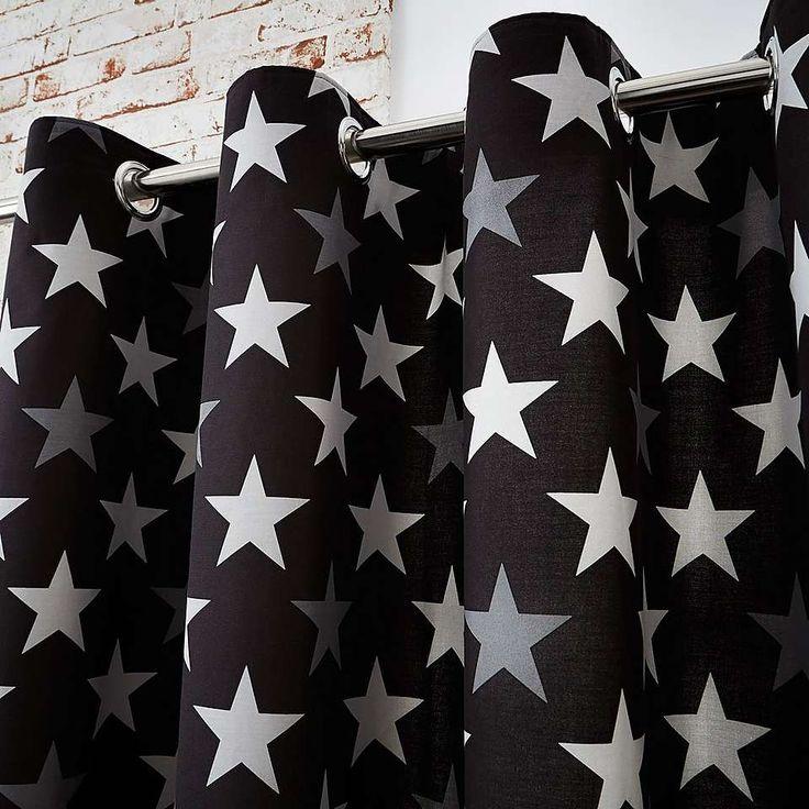 Stars Black Blackout Eyelet Curtains    Dunelm