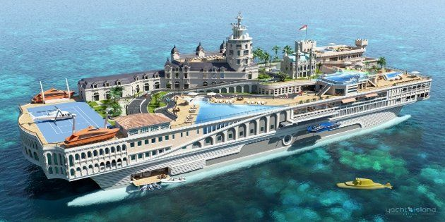 Yacht Island Designs - this drawing shows a mobile floating island you can buy for $200M. It's 325 feet long and can be made to resemble a particular street, or jungle complete with volcanoes, waterfalls, streets and anything your heart desires -- if you have the money. At one time Paul Allen, 2nd richest man in the world, considered buying a used aircraft carrier and converting it to something like this.