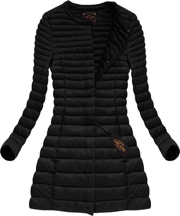 Dlhá dámska prechodná bunda čierna x7148X