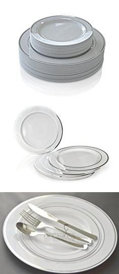 """Plates And Silverware Sets. """"OCCASIONS"""" Wedding Plastic Plates - Disposable Dinnerware with Silverware for 25 guests - (150 piece set , White with Silver Rim ).  #plates #and #silverware #sets #platesand #andsilverware #silverwaresets"""