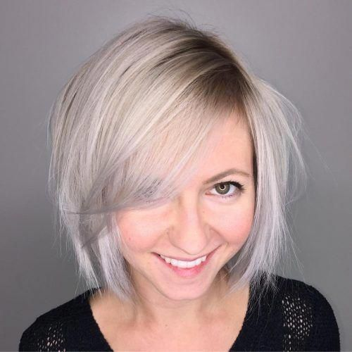 Chin Length Bob With Side Swept Bangs #shortbobhaircutswithbangs