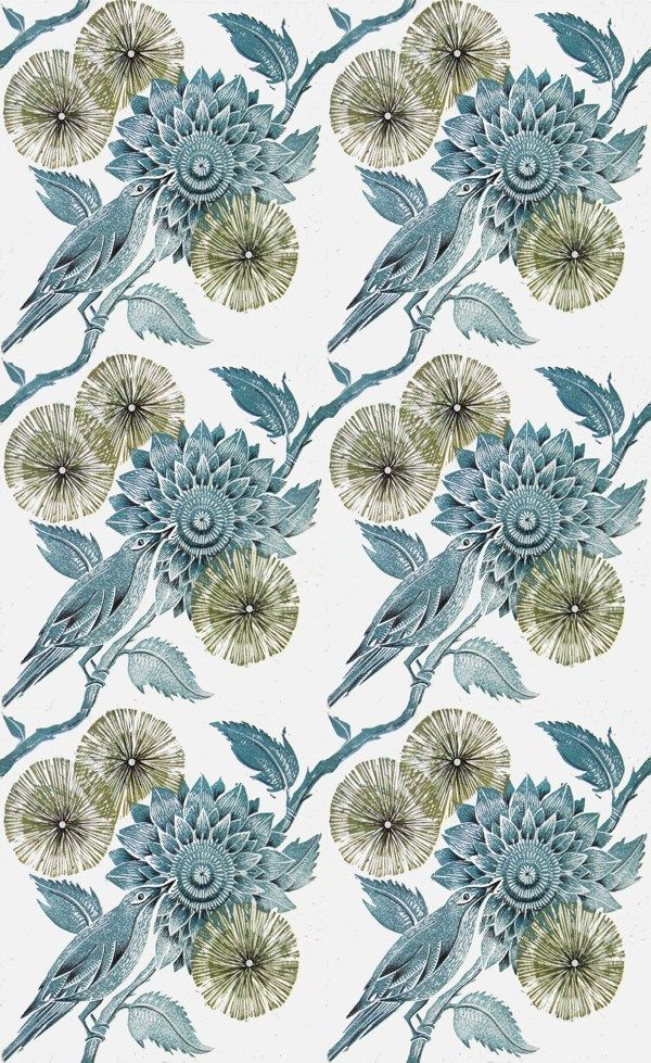 Floral Linocut Repeat by Amanda Colville, via Behance