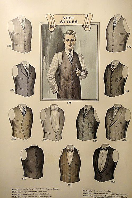 Plate from 1927 J.L. Taylor men's fashion catalogue. Fabulous selection of tailored vests for any style combination. Double Breasted style for Weisskopf.                                                                                                                                                     More