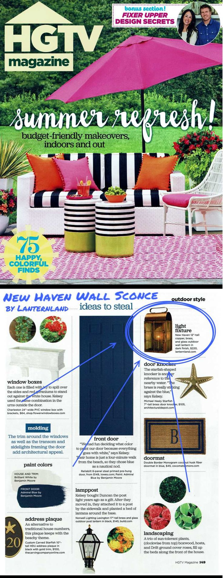 New Haven Wall Sconce by @Lanternland as seen in the July / August 2016 @hgtv  Magazine.