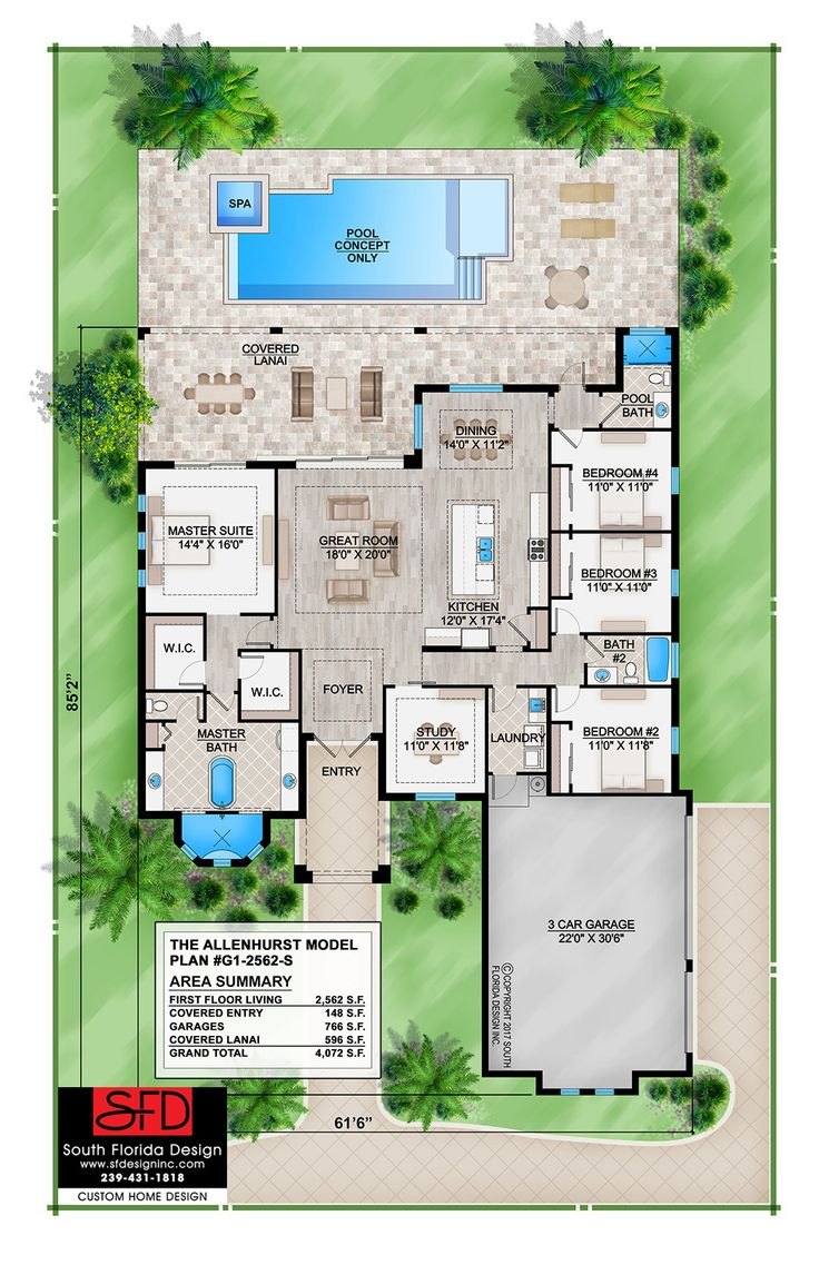 This house plan features 3 bathrooms, 3 car garage, great room, study, laundry room, split bedrooms and covered lanai.