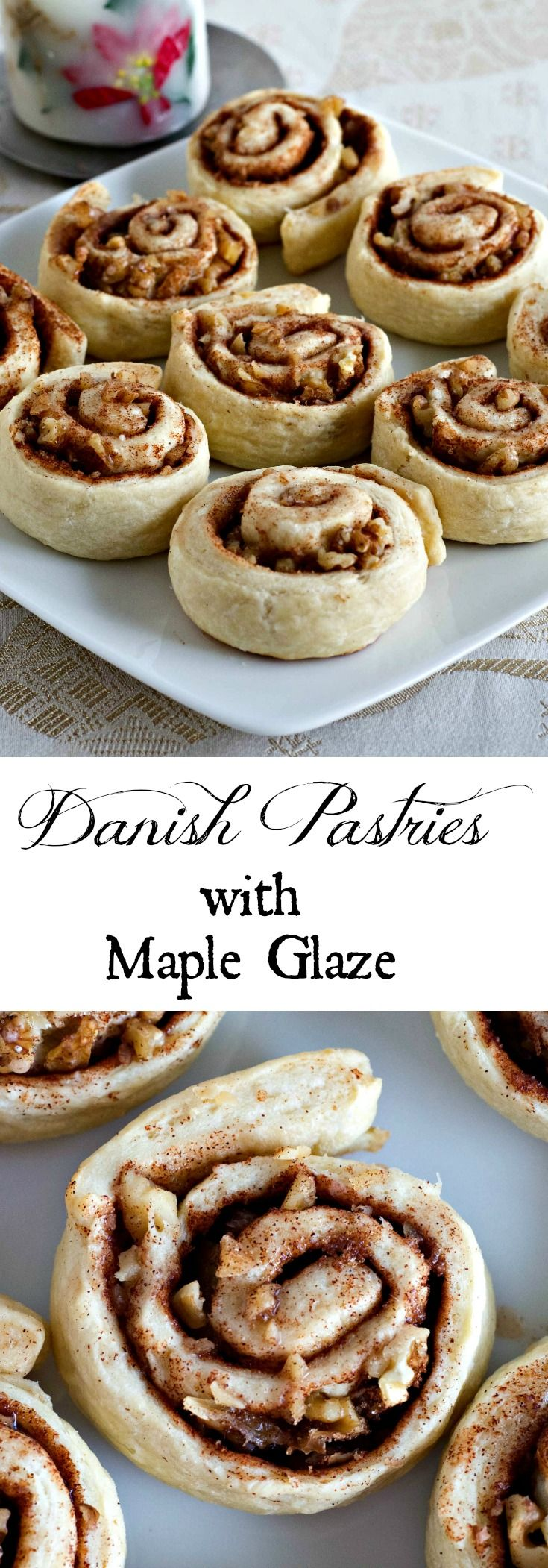 Danish Pastries with Maple Glaze - a traditional family recipe with pastry dough rolled up with walnuts and cinnamon and drizzled with Maple glaze.
