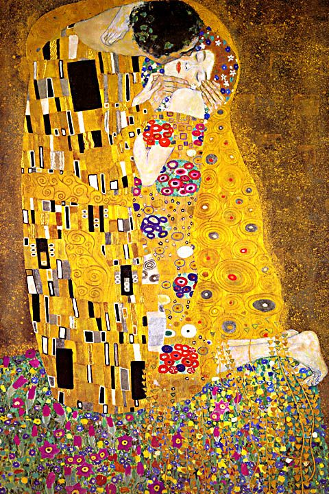Klimt – juxtaposition of texture and patterns, femininity, bright accents against earthy neutrals