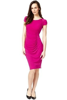 Button Neck Ruched Dress with Secret Support™