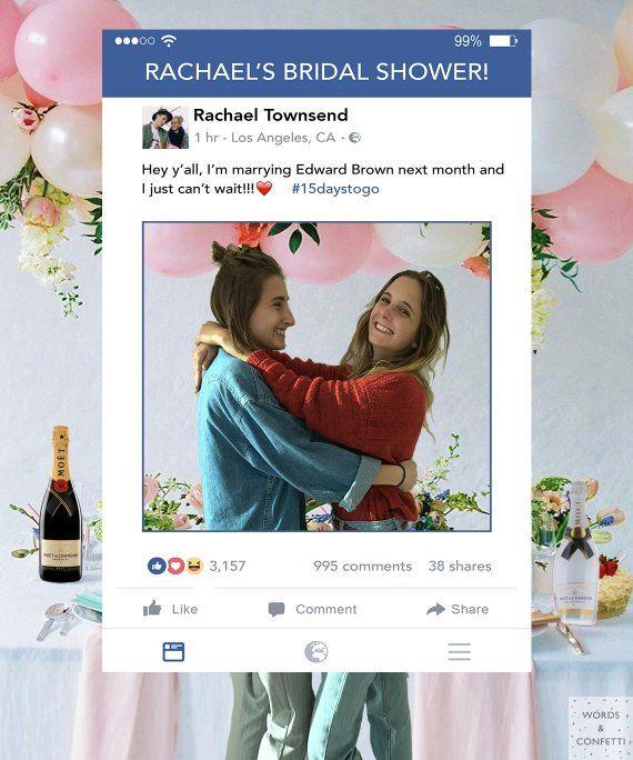 Facebook Photo Prop Frame Bridal Shower Decorations Social Media