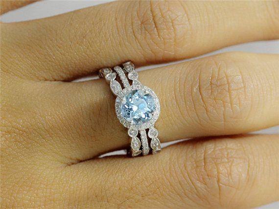 Petite Diamond Aquamarine Wedding Ring Set in 14k White Gold of 7mm Round Aquamarine Engagement Ring and 2 Halo Bezel Half Eternity Band on Etsy, $785.00