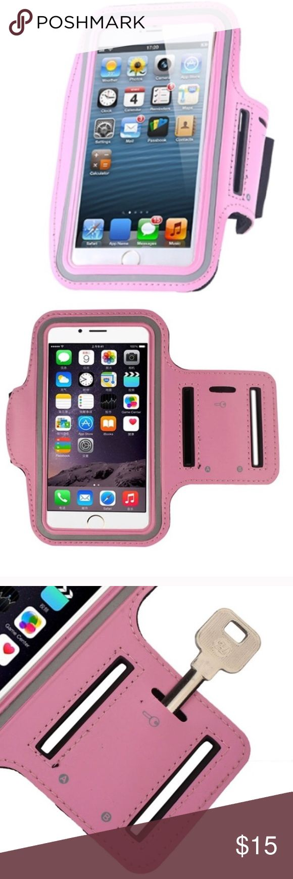 NEW Running/Workout Armband Case for iPhone 6/6s Brand new! Lightweight, durable leather/neoprene material with adjustable Velcro strap. Also has slot for your key on the strap. The off-colored strip around the front of the case is reflective for early morning or later at night while you are outside. Clear plastic protective face over the front so you can still see and use the screen while keeping it from getting damaged. Color is a cherry blossom pink, most like first photo, *other colors…