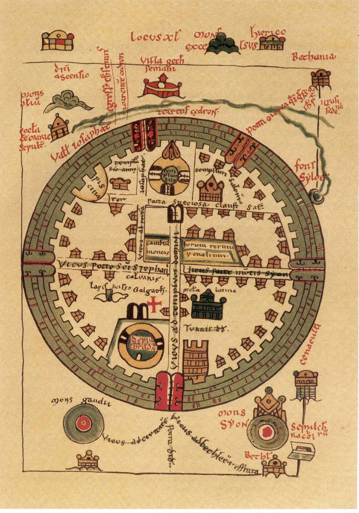 13th century St. Omar map of crusader Jerusalem
