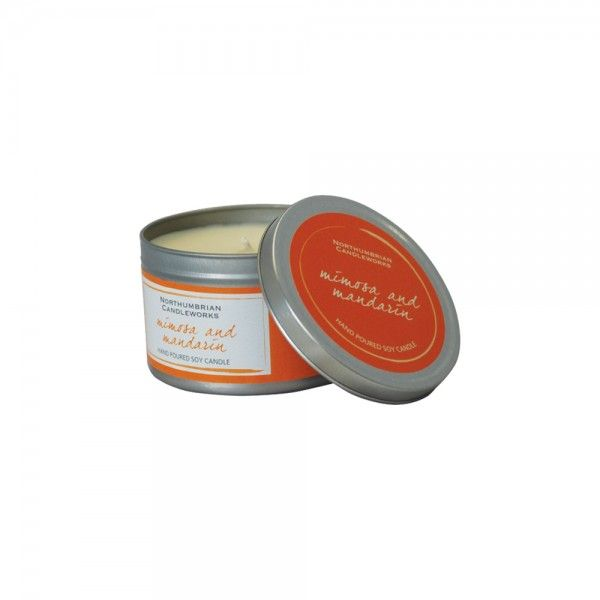 Beautifully fragranced natural soy wax candle. Mimosa and Mandarin fragrance. Perfect for the home or given as a gift.