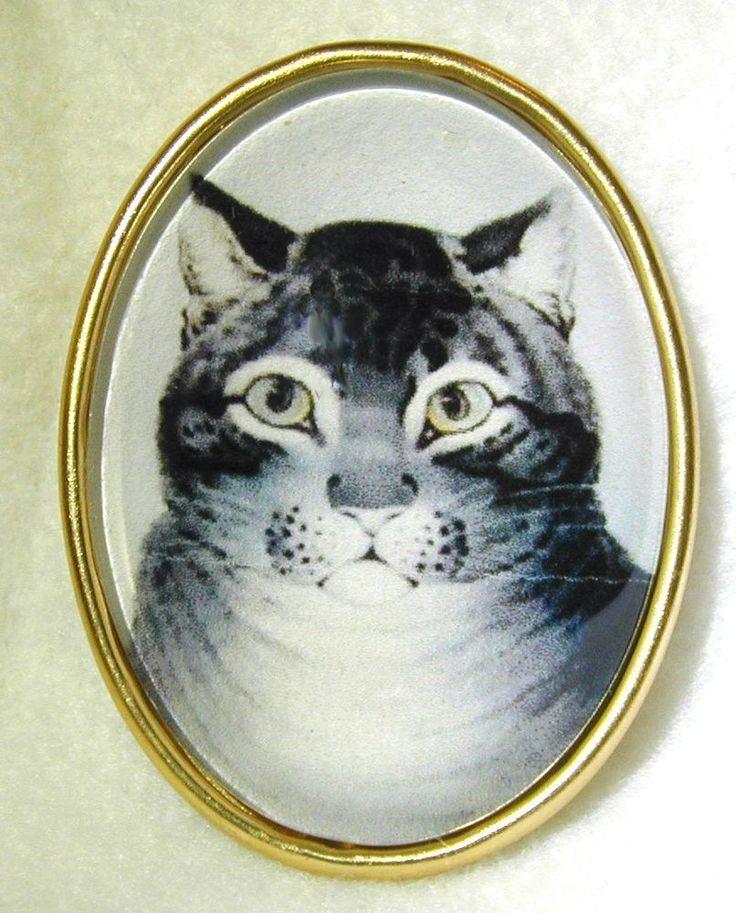 Glass Oval Crystal Dome Button Grey Tabby Cat Lg Sz 244OV #Unbranded