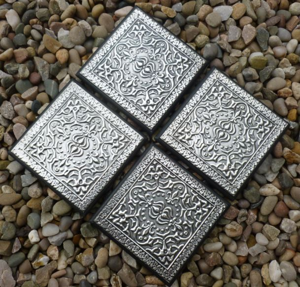 Hand Embossed Pewter Coasters by PewterConcepts on Etsy
