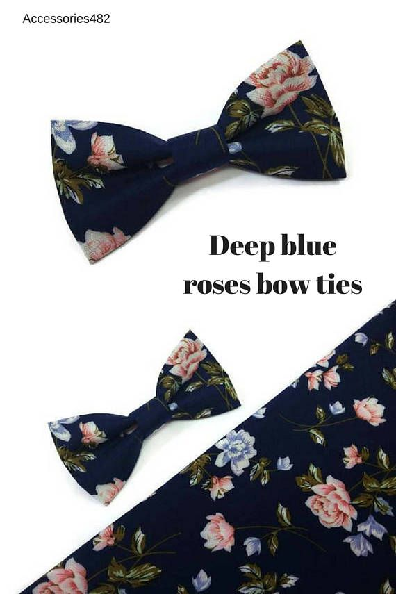 deep navy blue roses bow tie for baby boys wedding outfit