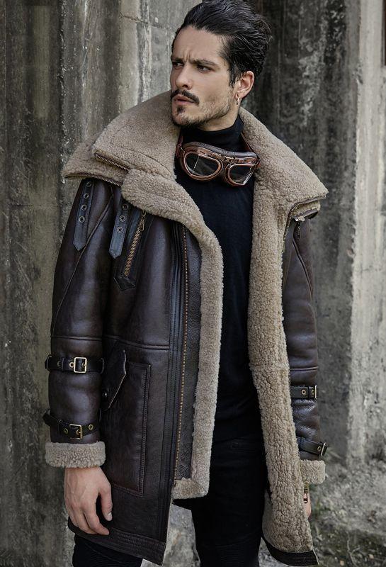 2de3463d3d Men s Shearling Jacket Long Style B3 Flight Jacket Double Collar Design Leather  Jacket Mans Sheepskin Aviator Fur Coat