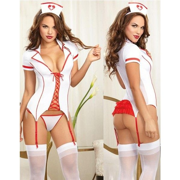 Sexy Naughty Nurse Halloween Costume 3pc White and Red Lingerie... ($20) ❤ liked on Polyvore featuring costumes, sexy womens costumes, ladies costumes, sexy nurse halloween costume, womens costumes and nurse costume