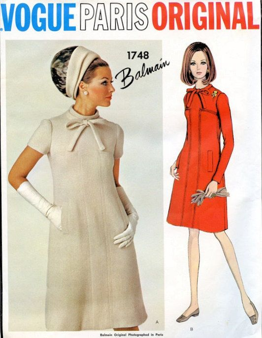 VOGUE PARIS ORIGINAL 1748 Mod 1960s Dress by WEAREVINTAGESEWING, $65.00