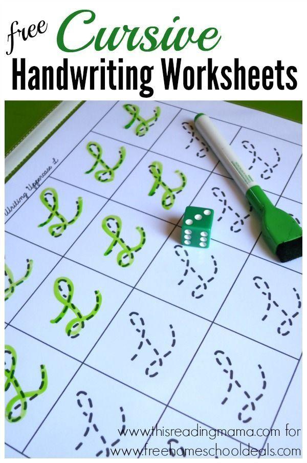 FREE Cursive Handwriting Worksheets ~ roll the die and write | Free Homeschool Deals