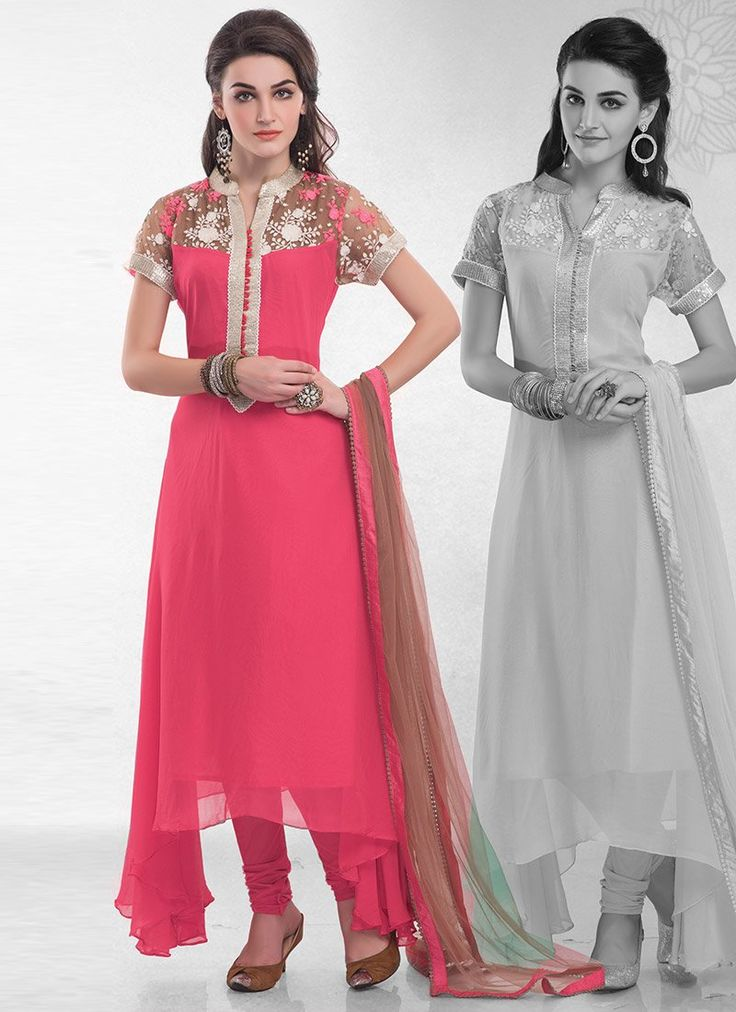 Pink #Georgette Asymmetrical #Churidar