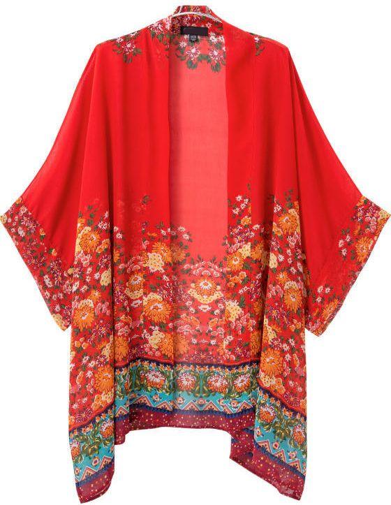 Kimono gasa suelto floral Vintage-rojo 17.40