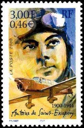 Antoine de Saint-Exupery auf französischer Briefmarke von 2004