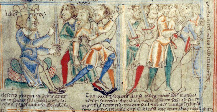 David feins lunacy before Achish king of Gath, Bible of Saint Stephen Harding, early 12th century