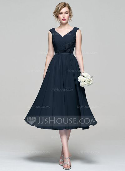 A-Line/Princess V-neck Tea-Length Ruffle Zipper Up Cap Straps Sleeveless No Other Colors Spring Summer Fall General Plus Chiffon Bridesmaid Dress