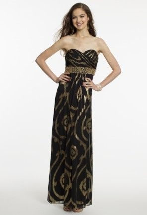 Foil Swirl Dress with Beaded Empire Waist from Camille La Vie and Group USA