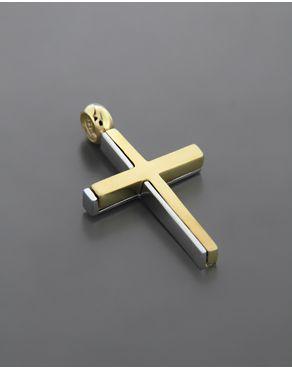 Σταυρός βάπτισης Χρυσός & Λευκόχρυσος K14